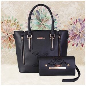 Sandrine Tote Bag/Wallet Two Piece Set [BLACK}